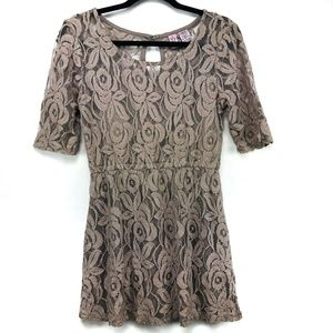 Love On A Hanger Juniors Dress Taupe Lace L